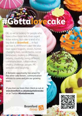 bromford recruitment flyer for gotta love cake